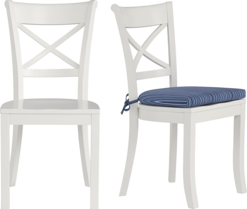 Beau Vintner White Side Chair And Indigo Stripe Cushion In Dining, Kitchen Chairs  | Crate And Barrel
