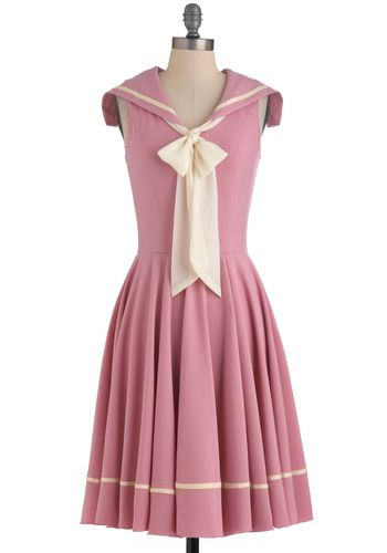 Sea Shanty Singing Dress - Long, Pink, Tan / Cream, Solid, Party, Vintage Inspired, A-line, Sleeveless, Exclusives, Pastel, Tie Neck, Collared, Fit & Flare, Nautical, Spring, 50s, 60s, i <3 the colour