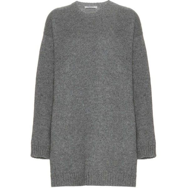 Valentino Wool Sweater Dress (9 030 SEK) ❤ liked on Polyvore featuring dresses, grey, grey sweater dress, grey wool dress, grey dress, wool sweater dress and sweater dresses