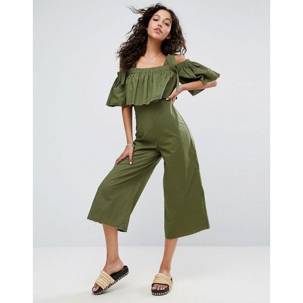 ASOS Jumpsuit in Cotton with Tie Shoulder Detail ($52) ❤ liked on Polyvore featuring jumpsuits, green, tall jumpsuit, prom jumpsuit, green jumpsuit, going out jumpsuits and cold shoulder jumpsuit