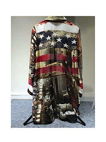 7de1f4c3 ARJOSA Womens Us Flag Print Casual Shirt Blouse Top   Button-Down ...