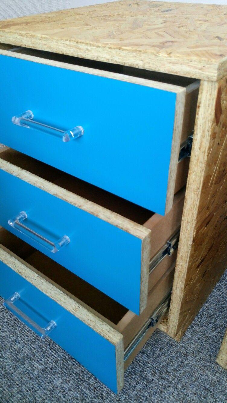 Osb three drawer bedside cabinet | OSB / Waferboard furniture ...