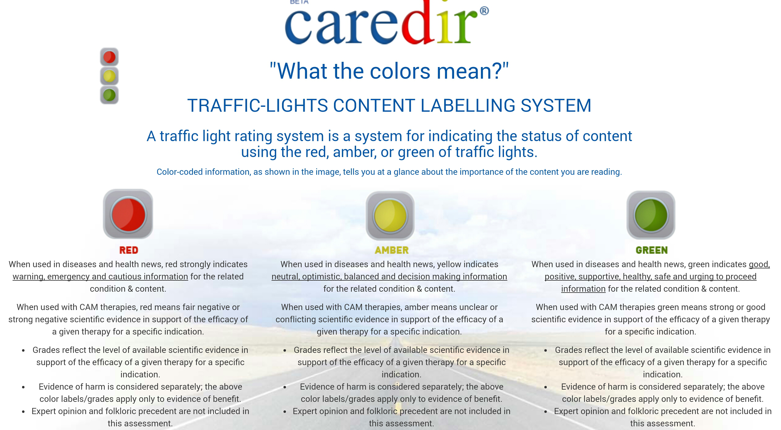 Traffic Lights Content Labelling System In A Health Site A Traffic
