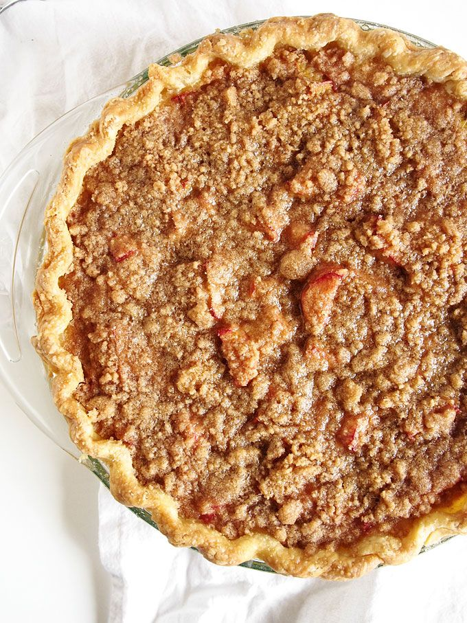 Rhubarb Sour Cream Crumble Pie The Kitchen Paper Rhubarb Recipes Sour Cream Recipes Rhubarb Recipes Pie