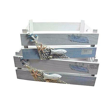 Set de 2 cajas de madera marino decorado marinero - Cajas de fruta decoradas ...