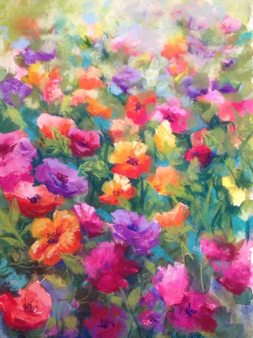 Love Flowers Pastel Over Watercolours Flower
