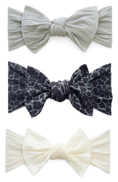 Free shipping and returns on Baby Bling Bow Stretch Headband (3-Pack) (Baby  Girls) at Nordstrom.com. Knotted bows detail a trio of soft 53559e2d46e