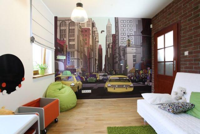 Attractive Jugendzimmer Gestalten Ideen Wand Fototapete Cartoon Stadt Pictures