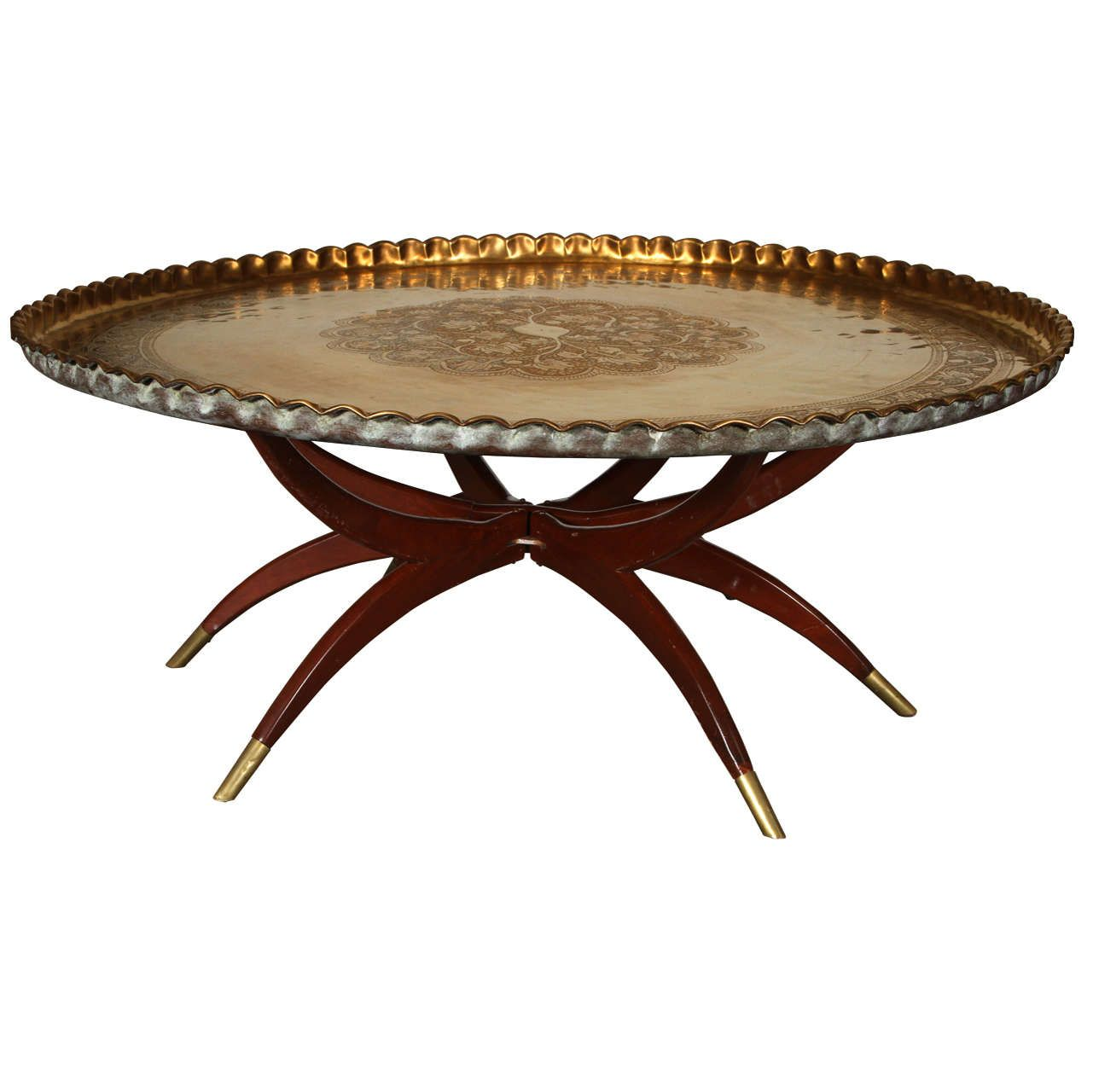 Large Moroccan Round Brass Tray Table On Folding Stand 45 In