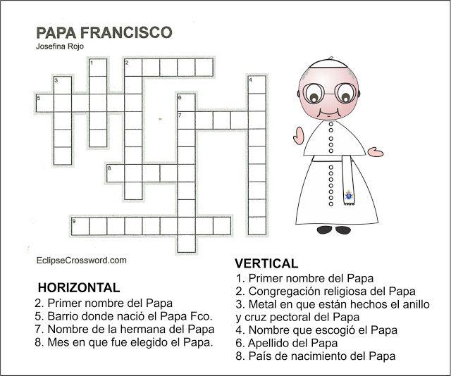 Pasatiempos Y Crucigramas Crucigramas Papa Francisco Crucigramas Papa Francisco Papa