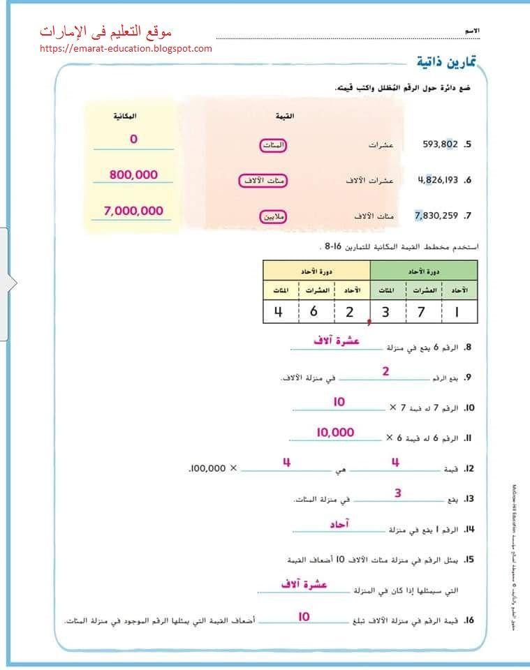 حل الدرس الأول والثاني رياضيات الصف الرابع الفصل الدراسي الأول Https Emarat Education Blogspot Com 2018 09 Mozkra Math Grade4 Ae Html Education Math