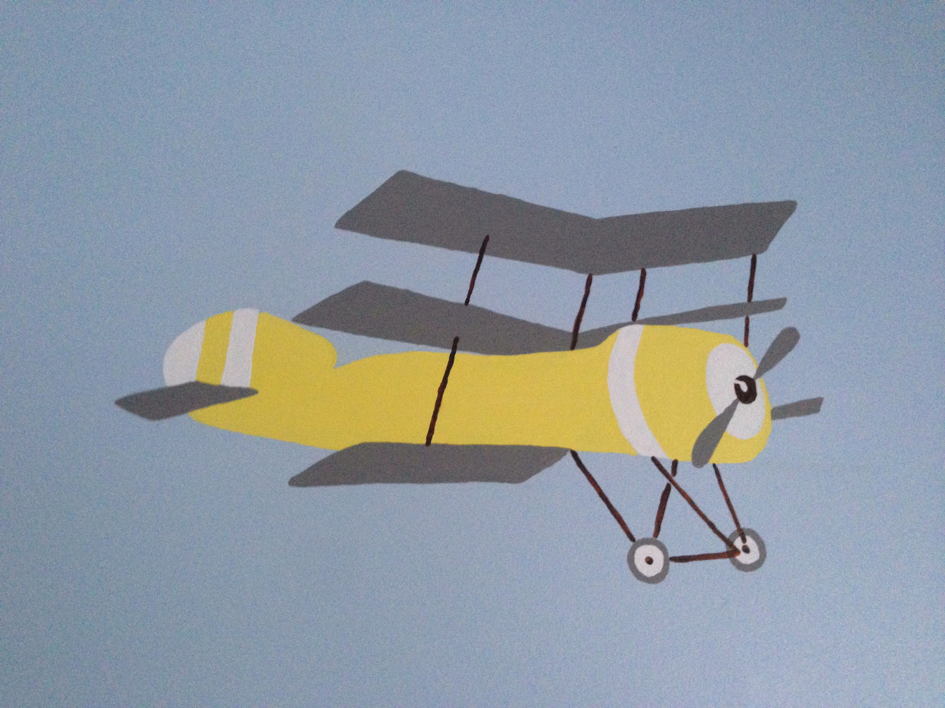 Yellow bi-plane from Cath Kidston aeroplane fabric painted onto a ...