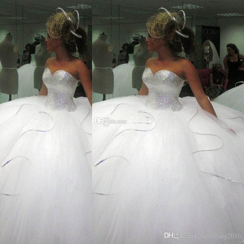 Big Crystal Tulle Wedding Dresses