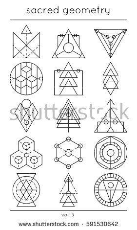 Sacred Symbols Vector Cosmic Decoration Elements Geometric