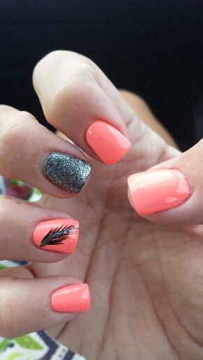 peach nail with feather design