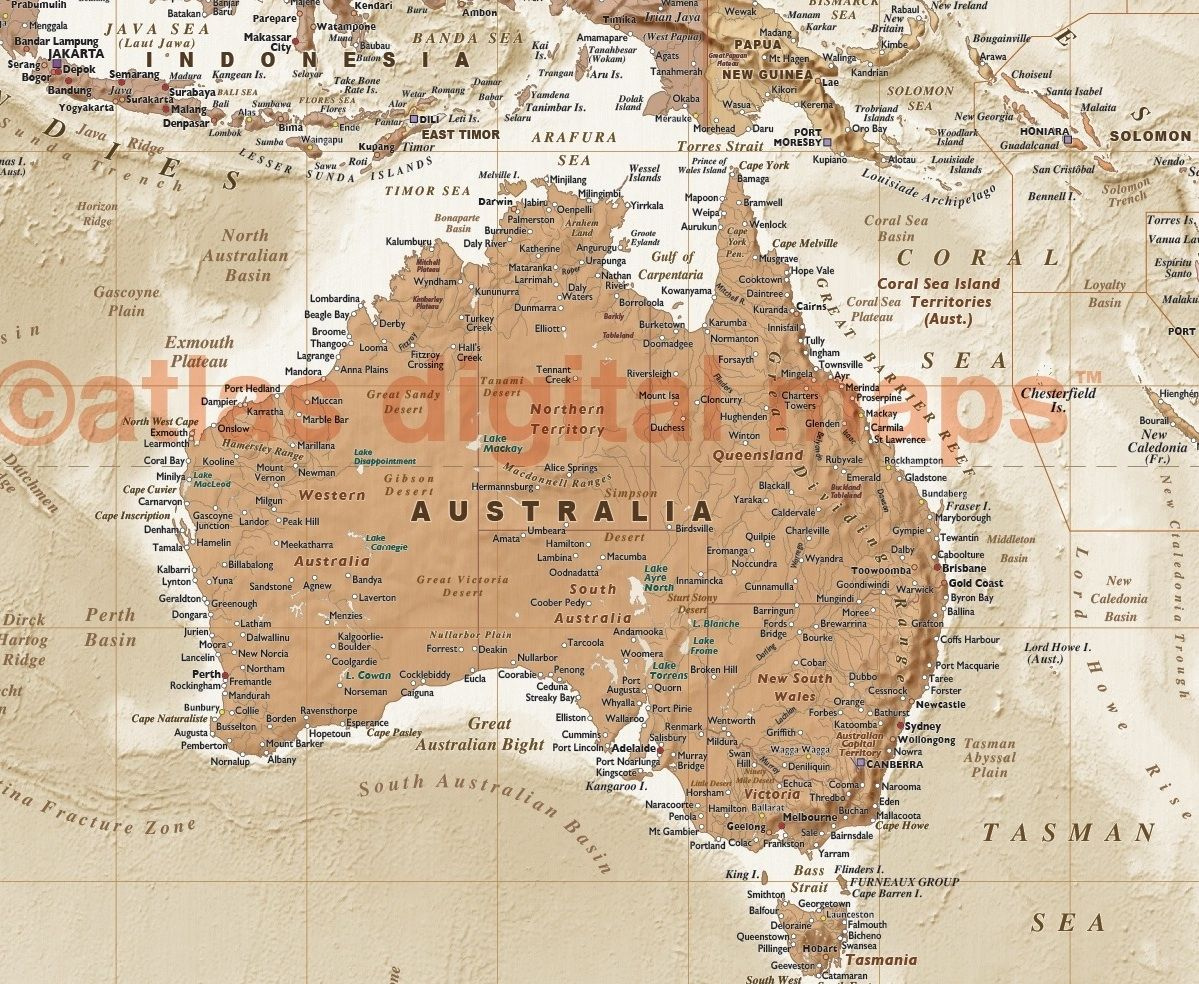Political and physical map of australia in neutral colours with bold canvas world wall map wide x deep a unique and classic fine quality physical political canvas map our original world map in muted neutral colours is a gumiabroncs Gallery
