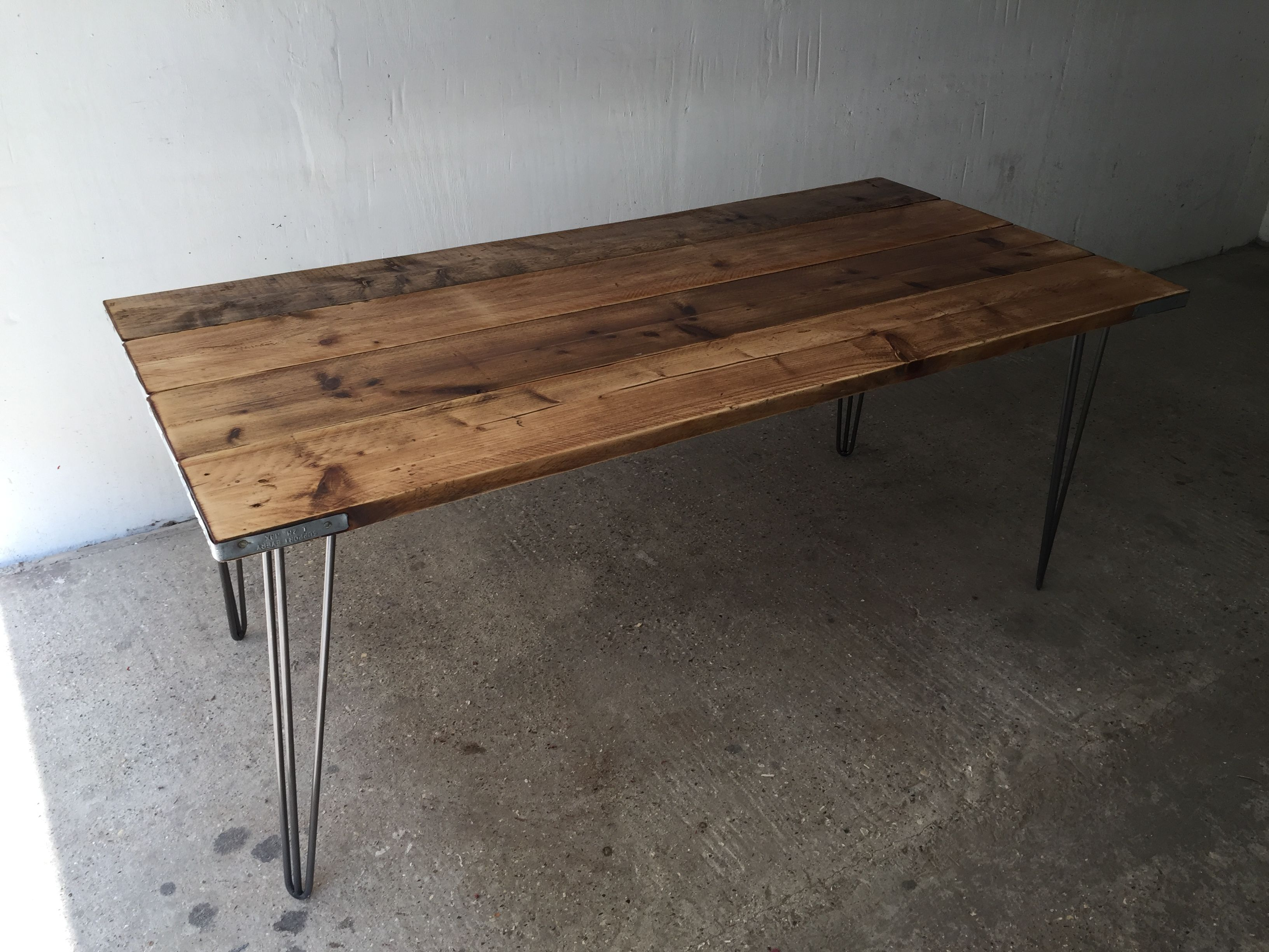 Reclaimed Scaffold Board Dining Table Finished With