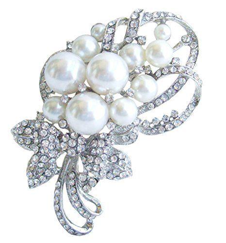 Sindary Wedding 4.72 Inch Gray Rhinestone Crystal Flower Brooch Pendant