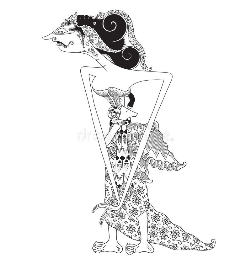 Emban A Character Of Traditional Puppet Show Wayang Kulit From Java Indonesia Royalty Free Illustration Illustration Free Illustrations Shadow Puppets