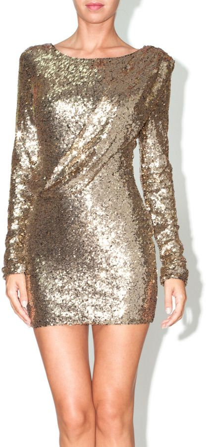 d095f4f30022c Xtaren Sequin Cocktail Dress, Long sleeve gold sequined party dress ...