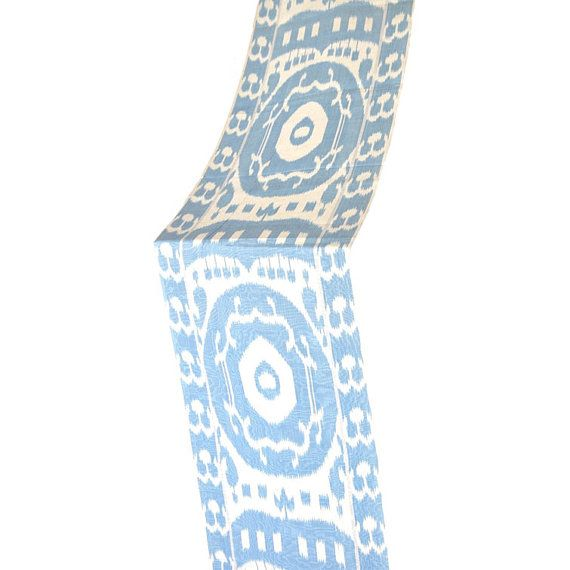 3 Yard of White and blue Ikat fabric Unique by EasternHomeDecor