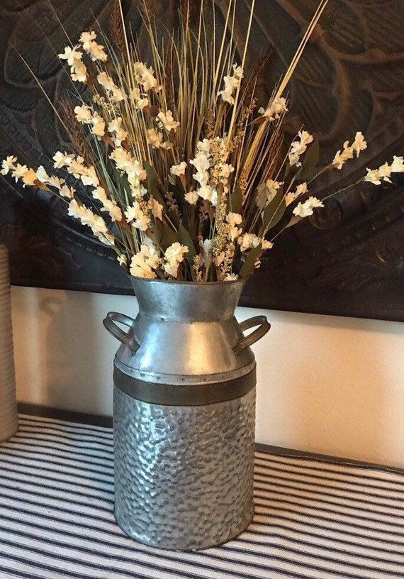 Galvanized Metal Milk Can Tabletop Farmhouse Decor Shabby Chic Vase In 2020 Milk Can Decor Shabby Chic Vases Milk Cans