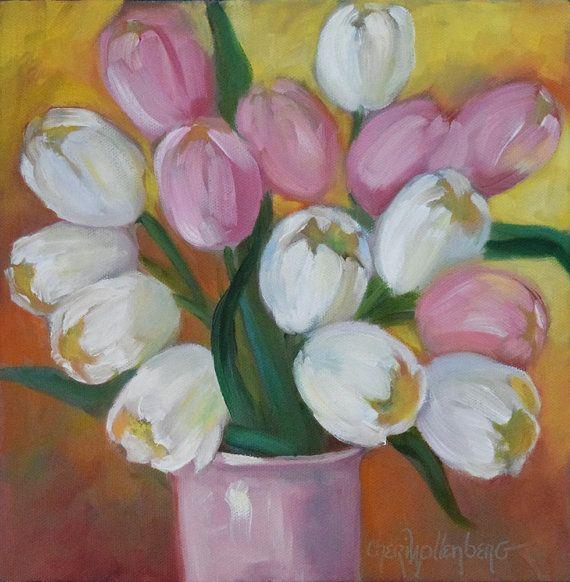 Rosa Und Weiße Tulpe Stillleben Gemälde Original öl Auf Leinwand