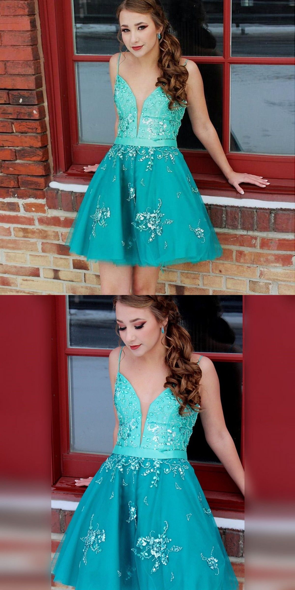 Aline spaghetti straps laceup turquoise homecoming dress with