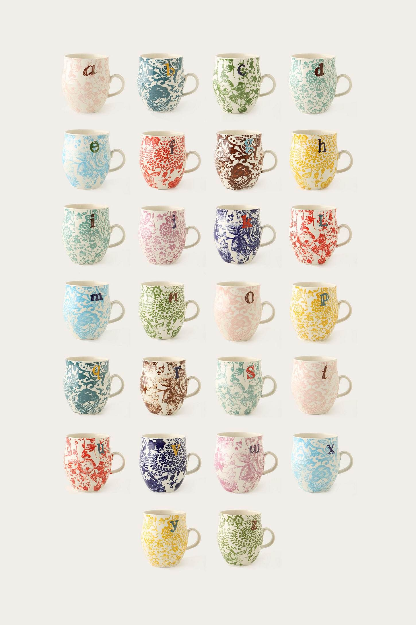 Monogram mugs from Anthropologie, would look perfect hanging on 26