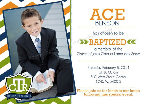 LDS Invitation - CTR - Custom Boy LDS Baptism Photo Announcement