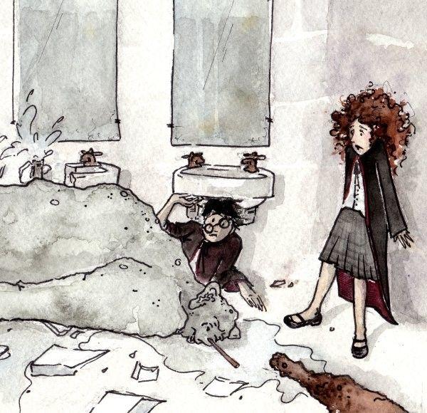 Harry Potter Fan Art - Troll Down - Limited Edition Watercolor Print