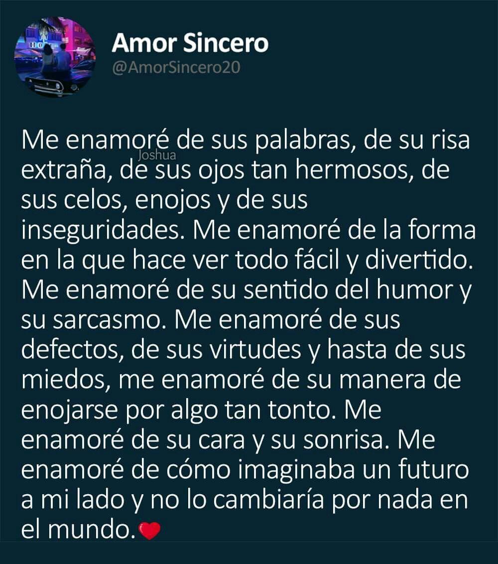 Amor Sincero Frases Para Las Fotos Pinterest Amor Frases De