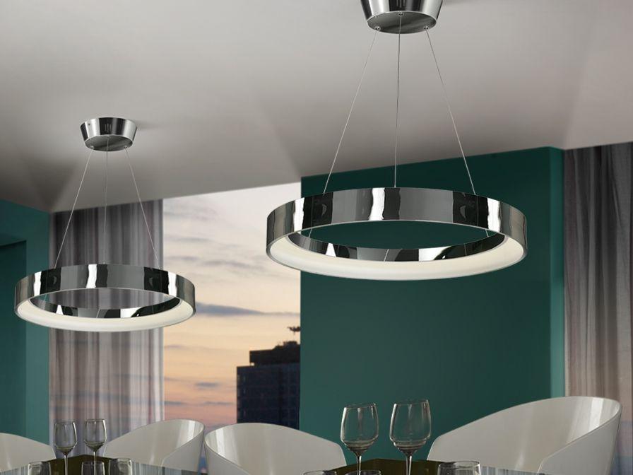 Large Led Pendant Made Of Metal Chrome Finish Hidden Lighting With Led Stripe Adjustable In Height Chrome Pendant Lighting Led Ceiling Lamp Ceiling Lights