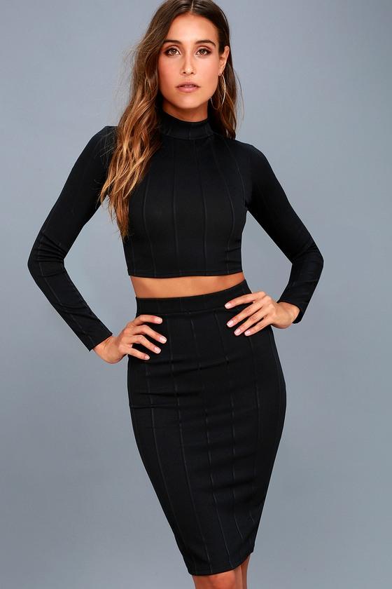 My Way Black Two Piece Long Sleeve Dress Black Crop Top Skirt Blue Midi Dress Bodycon Long Sleeve Dress