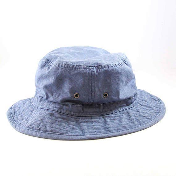 Vintage Blue Bucket Hat    90s Vacation Cap    Roll Up Gilligan Hat ... 0328b2cd045