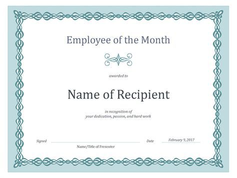 Certificate for Employee of the Month (blue chain design) Printing - best of printable student of the month certificate