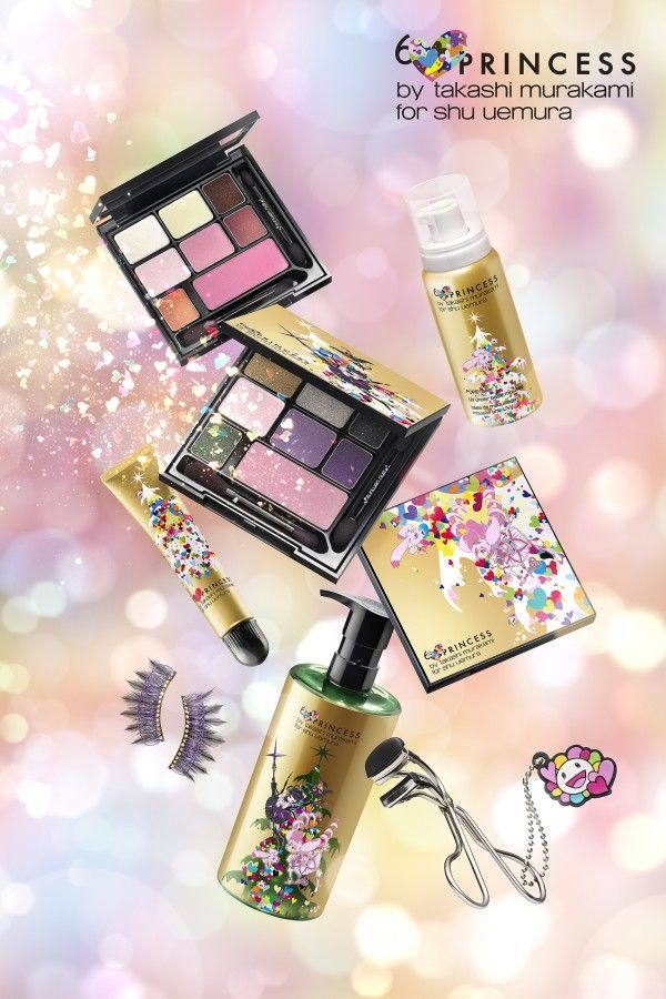 Shu Uemura launches 2013 makeup collaboration collection with Takashi Murakami for Christmas. Takashi Murakami created the 6 heart princess artwork as the inspiration of the collection which is really sweet and cute.  It may suggest a new makeup trend for this winter.–Yiqing Z.
