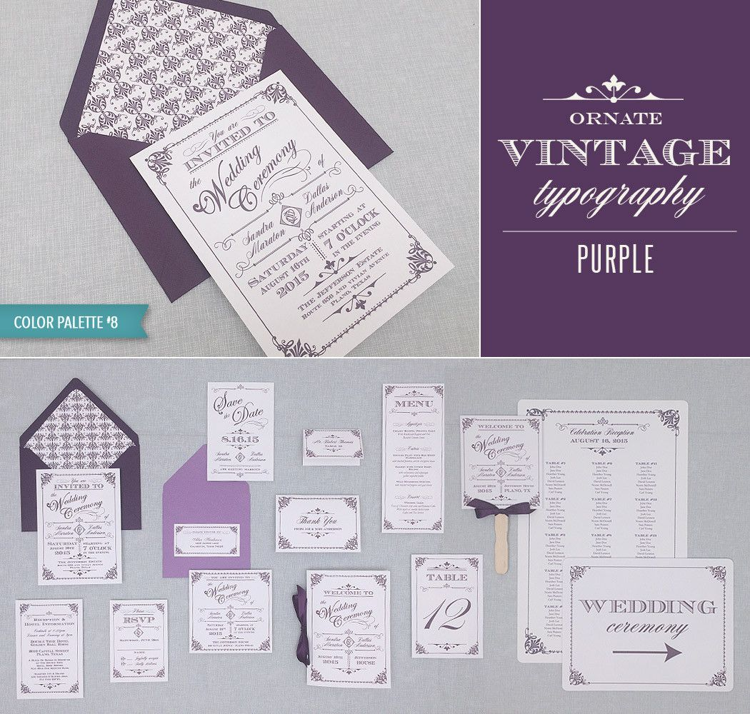 Ornate Vintage Typography DIY Wedding Invitation Suite in Purple ...