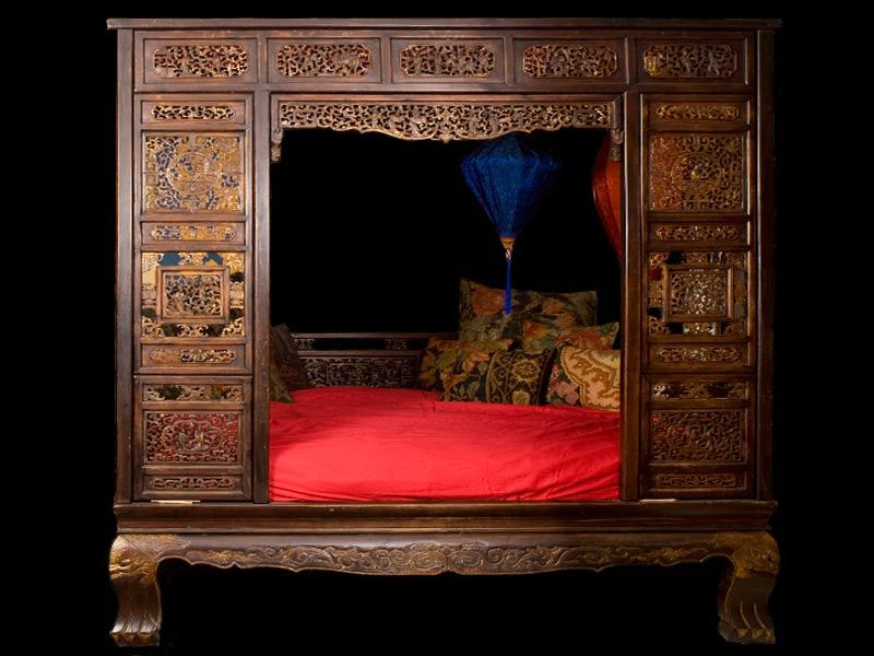 Antique Bed: 19TH CEN CHINESE CARVED CAMPHOR AND OAK BED