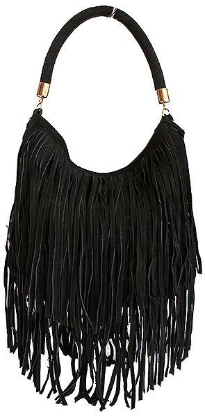 3d64956a54dd Alexis Italian Fringed Black Suede Leather Hobo Satchel Bag - £49.99 ...