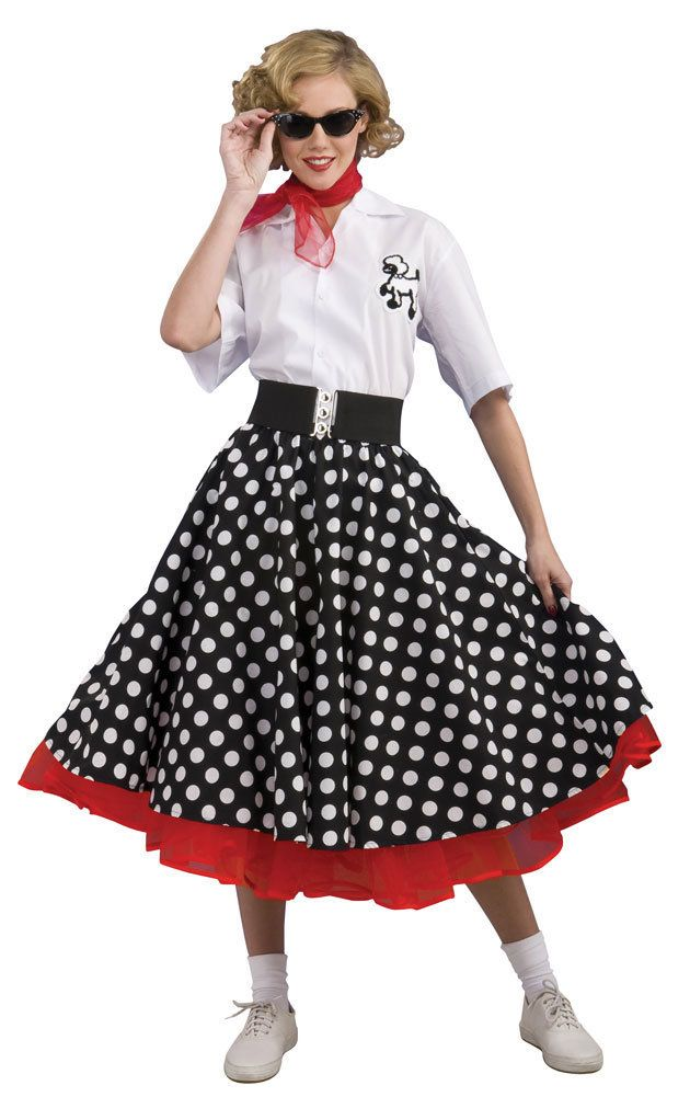 Adult 50's costume includes fashionable 50's petticoat dress, scarf, socks  and glasses