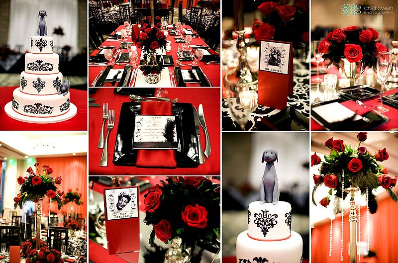 Vintage Hollywood Wedding Red Black And White