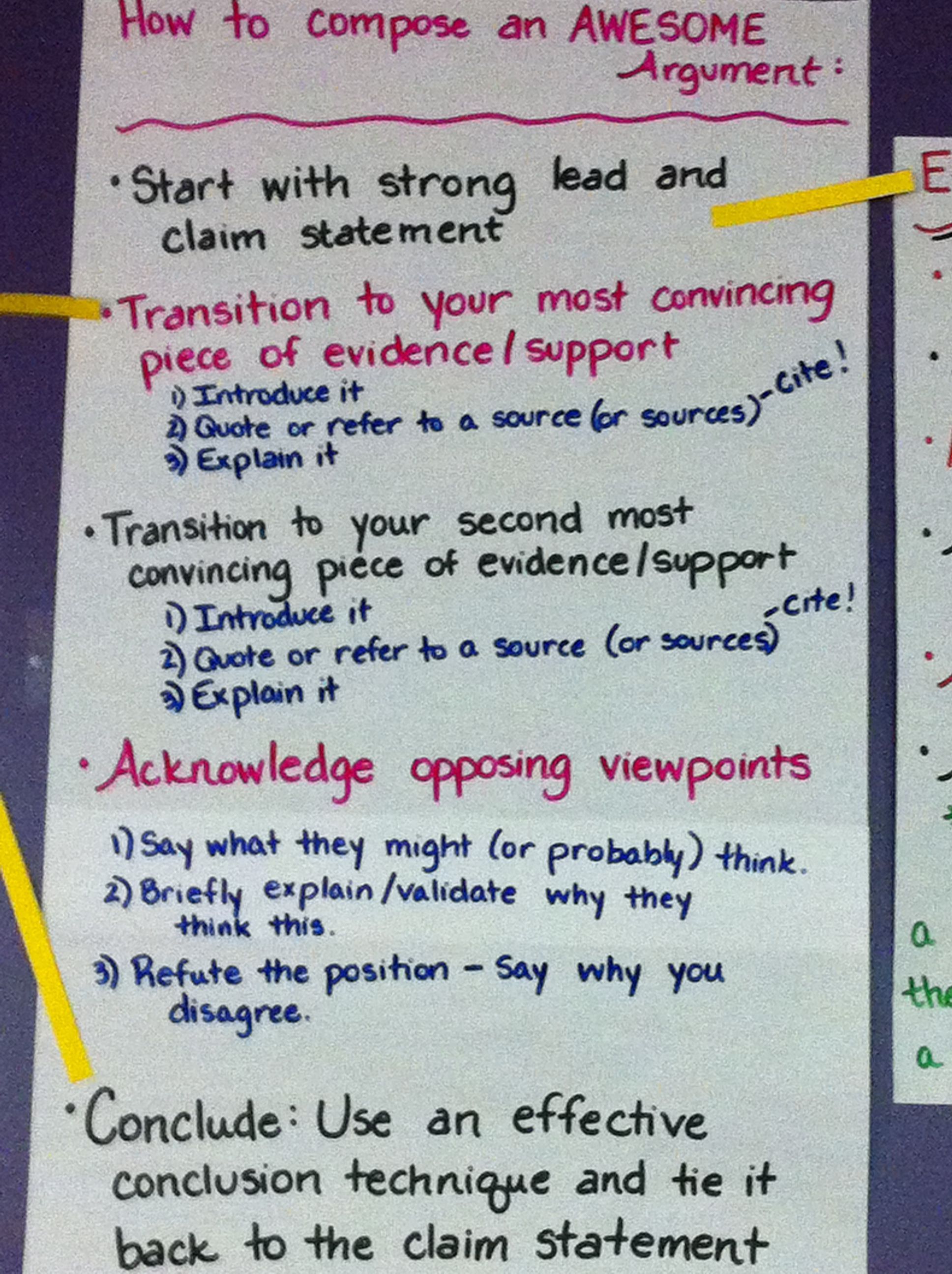 Argumentative Writing Chart This chart is great to display in the