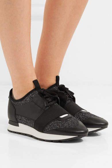 Race Runner Metallic Stretch-knit And Leather Sneakers - Black Balenciaga 7XwuC