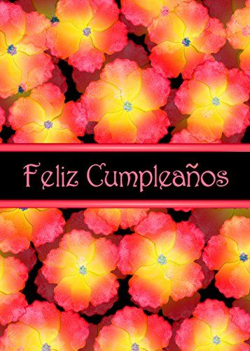 Feliz Cumpleanos Orange Flowers Spanish Birthday Greeting Card
