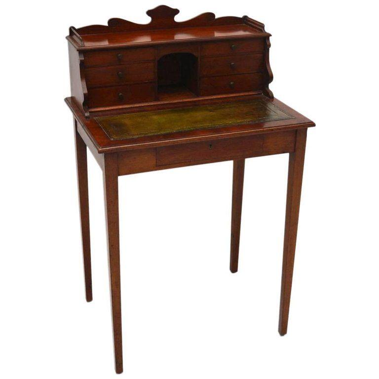 Small Antique Victorian Mahogany Escritoire Desk - Small Antique Victorian Mahogany Escritoire Desk Antique Desk And