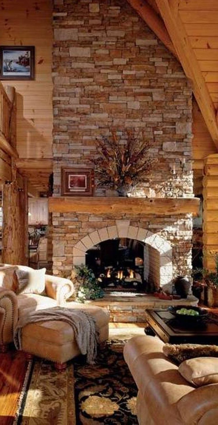 Cozy great room log homes log cabins and timber frame - Ver chimeneas rusticas ...