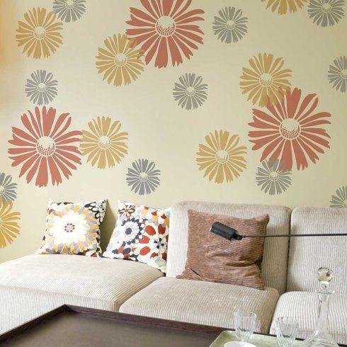 Happy Daisy Wall Stencil   MEDIUM   Better Than Wallpaper   DIY Decor