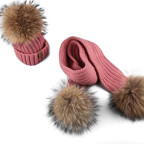 1a83afbb5122f FURTALK Kids Ages 2-10 Winter Warm Chunky Thick Knit Beanie Hats and Scarves  Real Fur Pom Pom Hat Scarf Set for Child