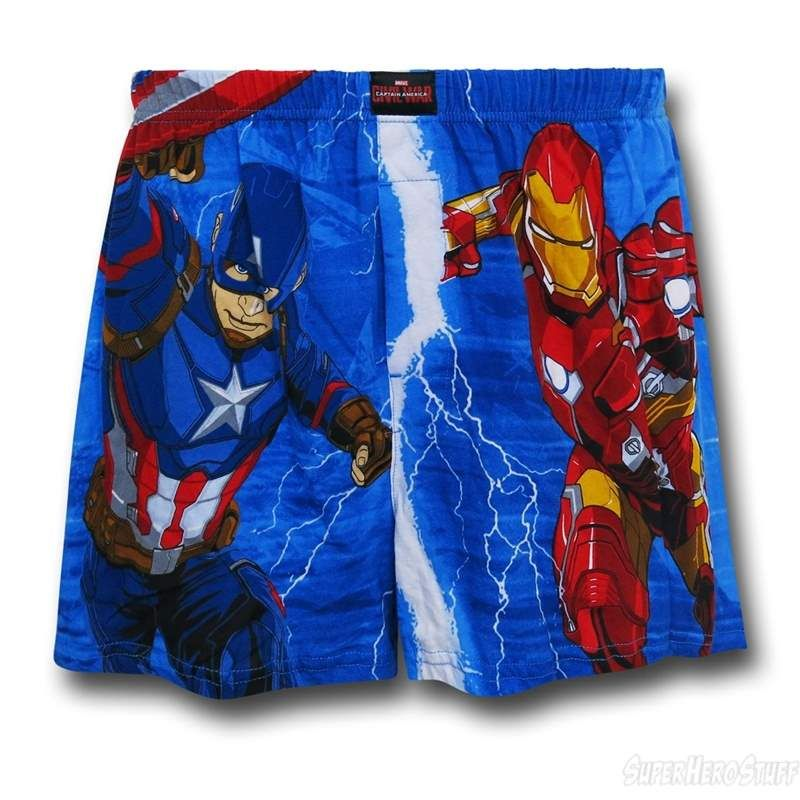 1bcfba1f4ef27 Captain America and Iron Man clash on these Captain America Civil War  Heroes Boxer Shorts